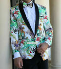 Mens INSOMNIA MANZINI Entertainer Sport Jacket Blazer White Bright Green Florals