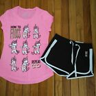 NWT Justice Girls Outfit How to Floss Top/Dolphin Shorts Size 6 7 8 10 12 14 16