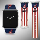 Cleveland Indians Apple Watch Band 38 40 42 44 mm Fabric Leather Strap 01 on Ebay