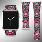 Montreal Canadiens Apple Watch Band 38 40 42 44 mm Fabric Leather Strap 01 $29.97 USD on eBay