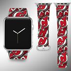 New Jersey Devils Apple Watch Band 38 40 42 44 mm Fabric Leather Strap 01 $29.97 USD on eBay