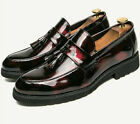 New Men's Tassels Patent Leather British Pointed Toe Loafers Club Formal Shoes