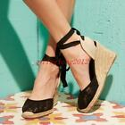 women's espadrille ankle strap platform sweet round toe lace wedge sandals shoes