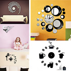 3D DIY Wall Clock Crystal Mirror Vinyl Art Sticker Decal Home Modern Decoration