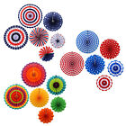6x Patriotic Paper Fans USA Design for 4th of July Independence Day