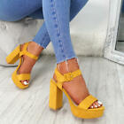 WOMENS LADIES ANKLE STRAP BUCKLE SANDALS PLATFORM HIGH BLOCK HEEL PEEP TOE SHOES