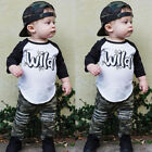 US Fashion Toddler Baby Boy Clothes Top Shirt Camouflage Ripped Pants 2PC Outfit