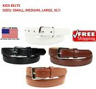 Внешний вид - Boys Kids Leather Belt Black Brown Suit Casual Metal Buckle High Quality Uniform