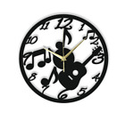 Guitar Musick Wall Clock Gift Silent Non-Ticking Ply Wood Black Brown 132