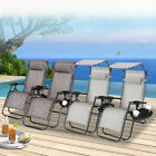 2x Zero Gravity Folding Lounge Beach Chairs Tray Phone Holder Outdoor Recliner