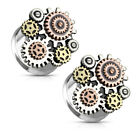 Ear Tunnels Double Flared Design with 3-Tone Steampunk Geared  Surgical Steel
