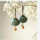 Flower Silver Filled Vintage Turquoise Ear Hook Drop Dangle Earrings Wedding
