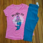 NWT Justice Girls Justice Mermaid Top/Cropped Leggings Size 8 12 14 16