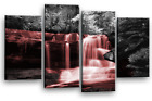 WATERFALL WALL ART PICTURE TEAL PURPLE BLUE TREES FOREST PRINT 4 CANVAS PANELS