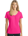 Hanes Women's Slub Jersey Shirred V-Neck O9253