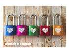 Personalised Engraved Love Padlock - 5 colours - Add Message - 2 Keys - Heart