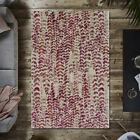 Natural Ecru Berry Red Geometric Living Room Rugs Textured Area Rugs For Bedroom