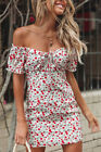 UK Womens Off Shoulder Lace Up Floral Sundress Ladies Summer Holiday Mini Dress