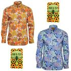 Run & Fly Mens Flower Print Long Sleeved Shirt 60s 70s Psychedelic Mod Retro