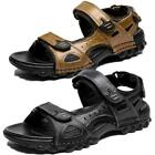 Size 7-14 Mens Brown Sandals Beach Water Adjustable Shoes Slip on Straps Summer