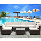 Outdoor Patio Pe Rattan Wicker Sofa Cushioned Sectional Furniture Set Brown
