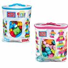 Mega Bloks by Fisher Price Big Building Bag First Builders 60pcs Blue or Pink