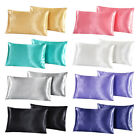 2Pcs Standard Queen King Satin Silk Pillowcase Pillow Case Cover Home Bedding image