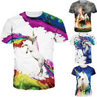 Unisex Multi Color Short Sleeve Unicorn Printed T-shirt Men Women Couple Tops image