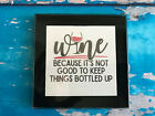 Coaster Drink Mat Gift - Black or Silver - Bottled Up - Fun Gift - Wine Alcohol