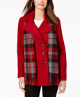London Fog Double-Breasted Plaid-Scarf Peacoat - Red - Size UK L or 3XL