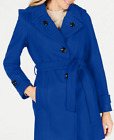London Fog Hooded Belted Peacoat - Cobalt Blue - Size UK L