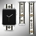 New Orleans Saints Apple Watch Band 38 40 42 44 mm Fabric Leather Strap 2 on eBay