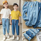 Unisex Baby Toddler Girl Chambray Full Length Pull-On Joggers Pants 2T-10