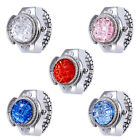 Fashion Women Jewelry Round Finger Ring Watch Stone Steel Elastic Lady Girl Gift image