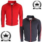 Relco Mens Classic Twin Striped Track Jacket Retro Vintage 70's Style Red Navy
