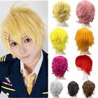 Hot Pixie Cosplay Anime Short Wig Black Brown Blonde Straight Unisex Full Wigs