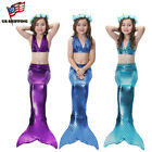 Внешний вид - Kids Girls 3Pcs Mermaid Tail Swimming Bikini Set Swimwear Swimmable Costumes