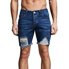 Men's Casual Straigh Short Jeans Pants Ripped Skinny Denim Shorts Trousers HSA