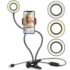 Selfie Ring Light with Cell Phone Holder Flexible Arms for Live Stream/Makeup