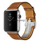 Deployment Buckle Apple Watch Band Single Tour Genuine Leather Strap Series 5 4 image