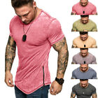 Men's Gym Hot Summer Slim Fit Casual Short Sleeve Muscle Tee Tops T-shirt Blouse image