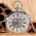 Retro Open Face Men's Hand Winding/Automatic Mechanical Pocket Watches FOB Chain image