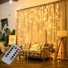 300 Led Fairy String Lights In/outdoor Curtain Window Wedding Decor + Controller