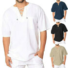Men T Shirt Beach Loose Blouse Cotton Linen Casual V Neck Holiday Tops Summer US image