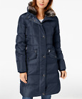 London Fog Faux-Fur-Trim Hooded Puffer Coat  - Dark Navy Blue - Size UK S