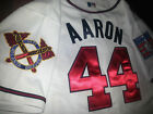 New Tag Majestic Hank Aaron Atlanta Braves #44 DUAL Patch stitched Jersey WHITE on Ebay