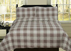 Buffalo Check Plaid Stripe Checkered Quilt Bedding Set, Tan and White