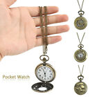 Retro Round Pocket Watch Vintage Chain Necklace Pendant Mens Accessorie Gift image