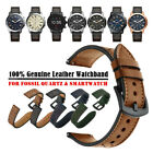20mm 22mm Premium Genuine Leather Watch Band Strap Bracelet for Fossil Watch image