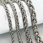 """3/4/5/6mm 18-36"""" Silver Stainless Steel Wheat Braided Chain Necklace Man Women"""